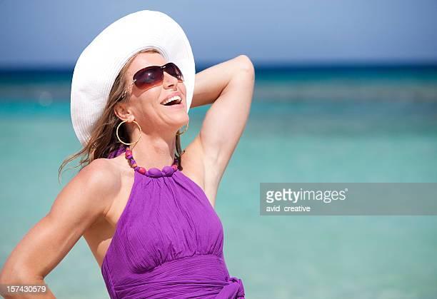 Vacation Lifestyles-Beautiful Woman Laughing at Beach