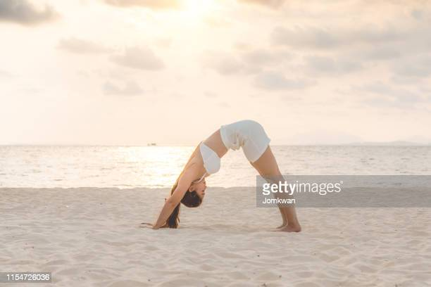 vacation attractive asian woman relaxing yoga