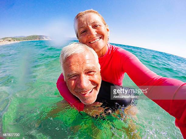Vacation selfie of a senior couple