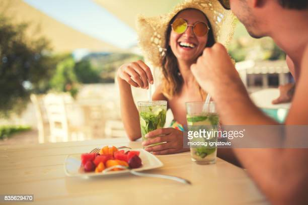 vacation time - mojito stock photos and pictures