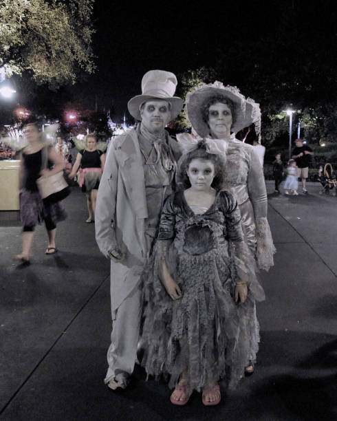 ghost family out for a stroll at halloween