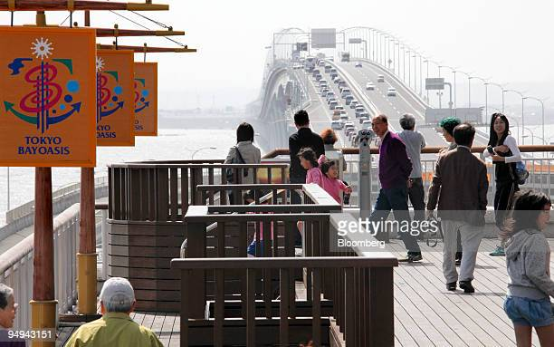 Vacationers take a break at the Umihotaru rest area off the Tokyo Bay AquaLine highway in Kisarazu Chiba prefecture Japan on Sunday April 26 2009...