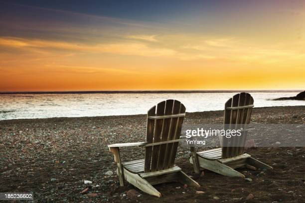 Vacationing on Beach of North Shore Lake Superior at Sunset