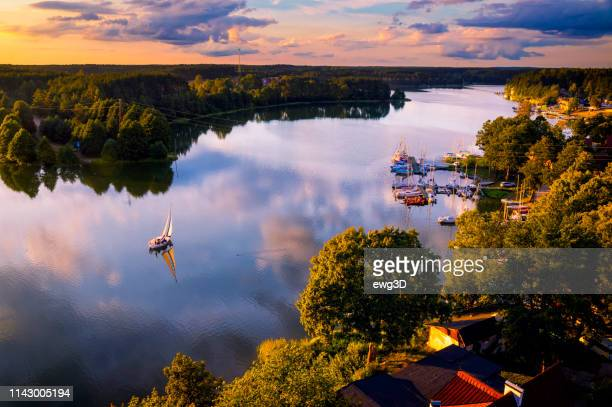 vacations in poland - holiday with a sailboats by the lake - poland stock pictures, royalty-free photos & images