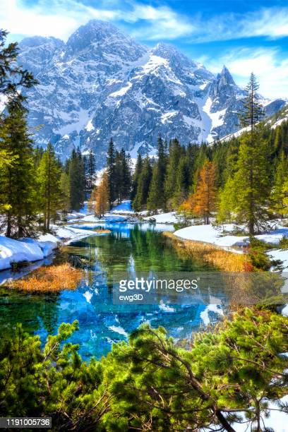 vacations in poland - rybi stream flowing out of the morskie oko lake in tatra mountains - zakopane stock pictures, royalty-free photos & images