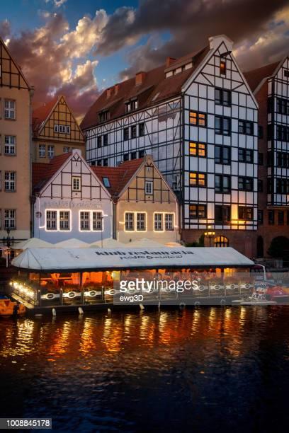 vacations in poland - summer evening ingdansk old town - motlawa river stock pictures, royalty-free photos & images