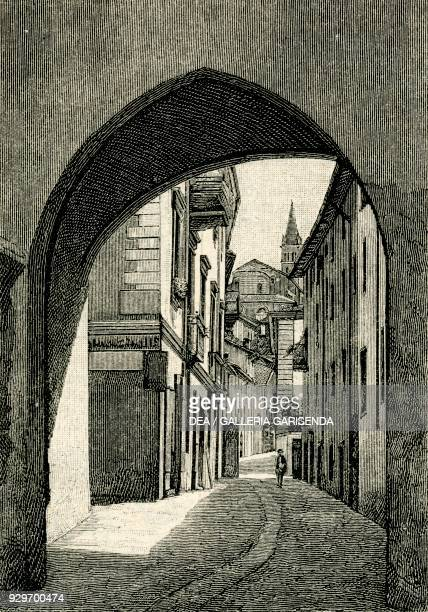Vacca Gate Saluzzo Piedmont Italy woodcut from Le cento citta d'Italia illustrated monthly supplement of Il Secolo Milan 1894