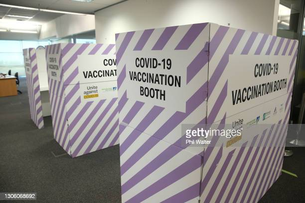 Vaccination booths and signage are pictured inside a South Auckland vaccination clinic on March 09, 2021 in Auckland, New Zealand. New Zealand's...