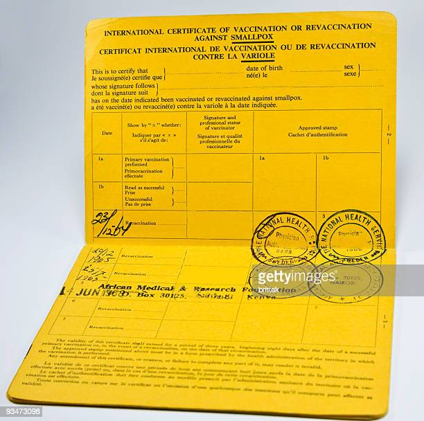 Vaccination certificate used for small pox.