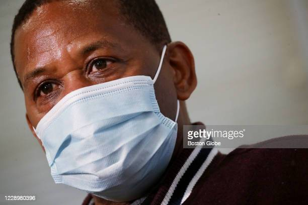 Vaccine trial participant Anthony Shivers of Boston, speaks with the media at Brigham and Women's Hospital in Chestnut Hill, MA on October 08, 2020....
