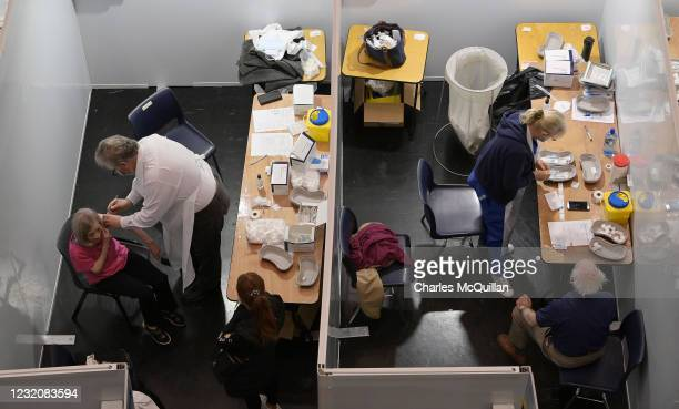 Vaccines are administered at The Helix North Dublin vaccination centre on April 3, 2021 in Dublin, Ireland. Irish Health officials have warned that...
