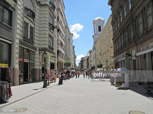vaci street main shopping street in budapest - pedestrian zone stock pictures, royalty-free photos & images