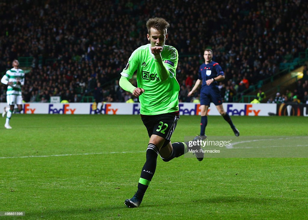 Vaclav Cerny of Ajax celebrates as he scores their second goal during the UEFA Europa League Group A match between Celtic FC and AFC Ajax at Celtic Park on November 26, 2015 in Glasgow, United Kingdom.