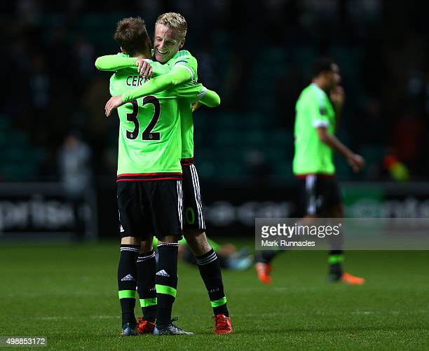 Vaclav Cerny of Ajax is congratulated by Donny van de Beek at the end of the game after scoring the winning goal during the UEFA Europa League Group...