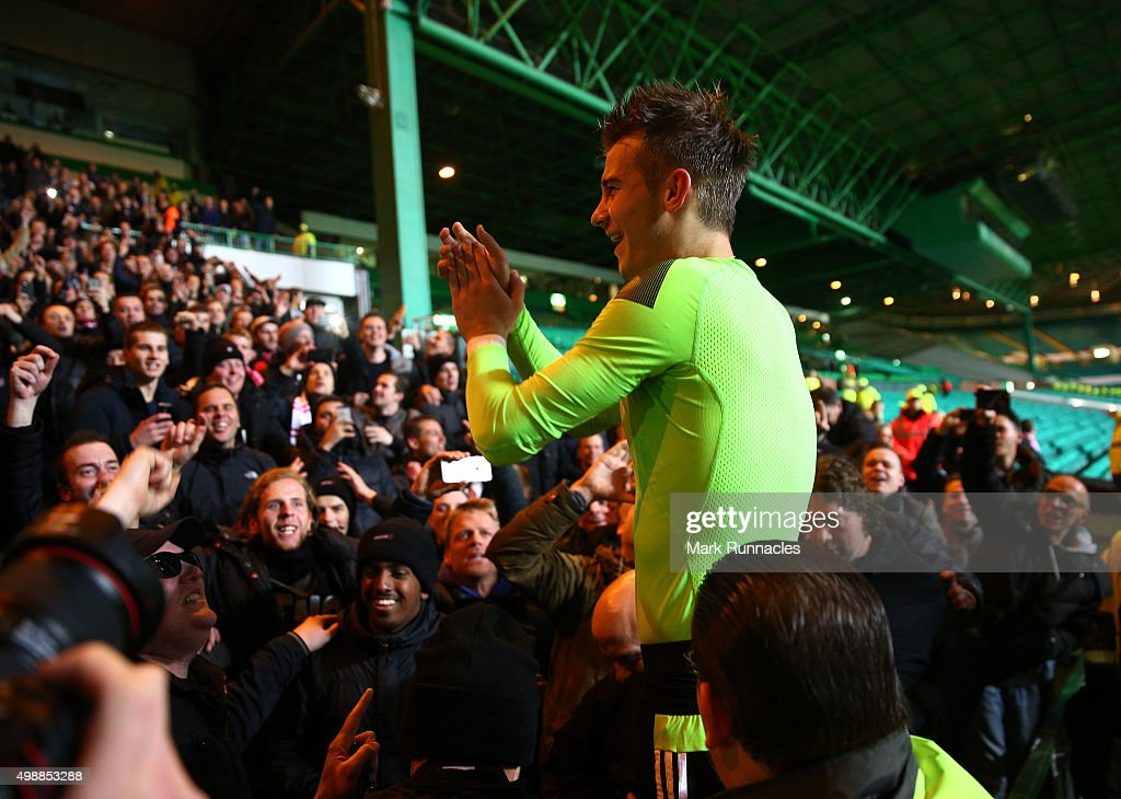 Vaclav Cerny of Ajax is lifted into the crowd to celebrate at the end of the game after scoring the winning goal during the UEFA Europa League Group A match between Celtic FC and AFC Ajax on November 26, 2015 in Glasgow, Scotland.
