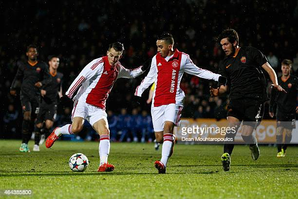 Vaclav Cerny of Ajax shoots on goal during the UEFA Youth League Round of 16 match between Ajax Amsterdam and AS Roma held at Portpark de Toekomst on...