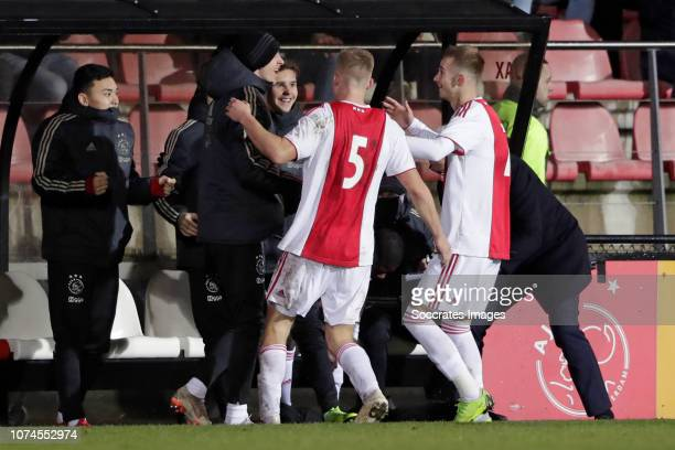 Vaclav Cerny of Ajax U23 celebrates 2-0 during the Dutch Keuken Kampioen Divisie match between Ajax U23 v Sparta at the De Toekomst on December 21,...