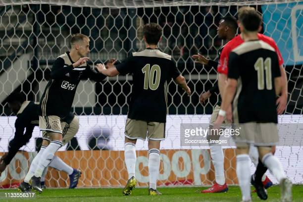 Vaclav Cerny of Ajax U23, Victor Jensen of Ajax U23, Ryan Gravenberch of Ajax U23 celebrates during the Dutch Keuken Kampioen Divisie match between...