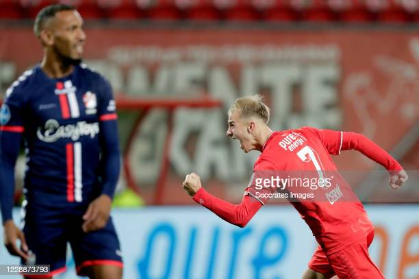 Vaclav Cerny of FC Twente celebrates 1-0 during the Dutch Eredivisie match between Fc Twente v FC Emmen at the De Grolsch Veste on October 3, 2020 in...