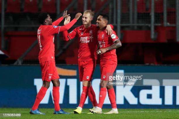 Vaclav Cerny of FC Twente celebrates 4-0 with Queensy Menig of FC Twente, Danilo Pereira of FC Twente during the Dutch Eredivisie match between Fc...