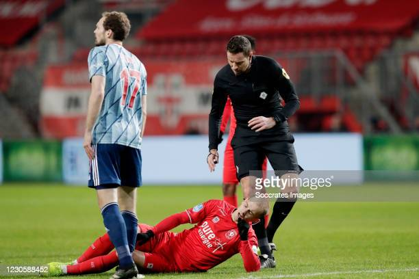 Vaclav Cerny of FC Twente, referee Pol van Boekel during the Dutch Eredivisie match between Fc Twente v Ajax at the De Grolsch Veste on January 14,...