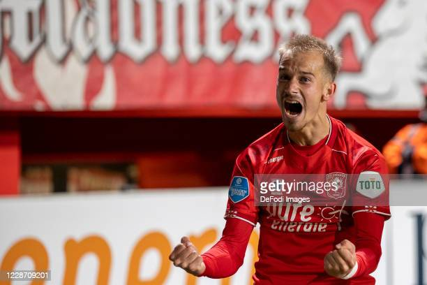 Vaclav Cerny of Rangers FC Celebrates after scoring his teams 1-0 goal during the Dutch Eredivisie match between FC Twente and FC Groningen at De...