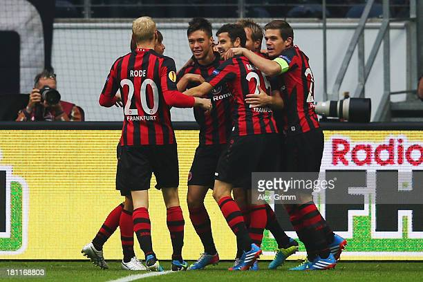 Vaclav Kadlec of Frankfurt celebrates his team's first goal with team mates during the UEFA Europa League Group F match between Eintracht Frankfurt...