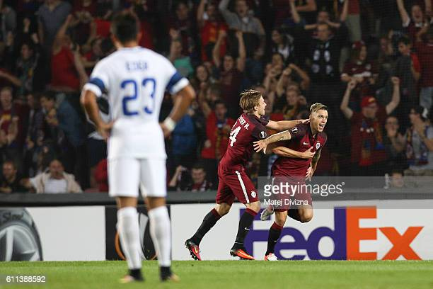 Vaclav Kadlec of Sparta Prague celebrates his goal with his team mate during the UEFA Europa League match between AC Sparta Praha and FC...