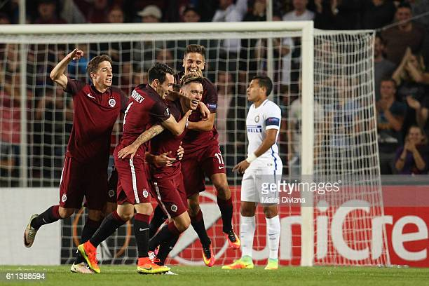 Vaclav Kadlec of Sparta Prague celebrates his goal with his team mates during the UEFA Europa League match between AC Sparta Praha and FC...