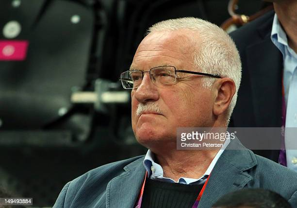 Vaclav Klaus President of the Czech Republic watches the Men's Basketball Game on Day 2 of the London 2012 Olympic Games at the Basketball Arena on...