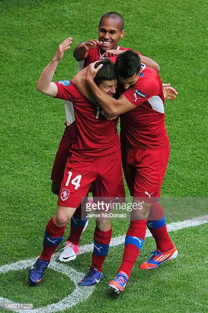 Vaclav Pilar of Czech Republic celebrates scoring their second goal with team mates during the UEFA EURO 2012 group A match between Greece and Czech...