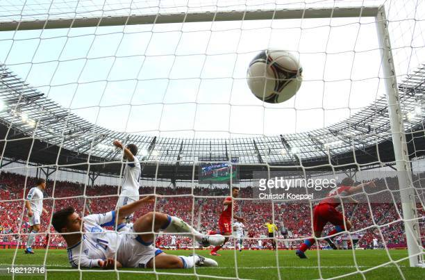 Vaclav Pilar of Czech Republic celebrates scoring their second goal during the UEFA EURO 2012 group A match between Greece and Czech Republic at The...