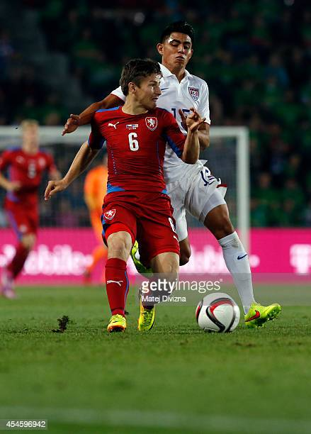Vaclav Pilar of Czech Republic competes for the ball with Joe Corona of USA during the international friendly match between Czech Republic and USA on...