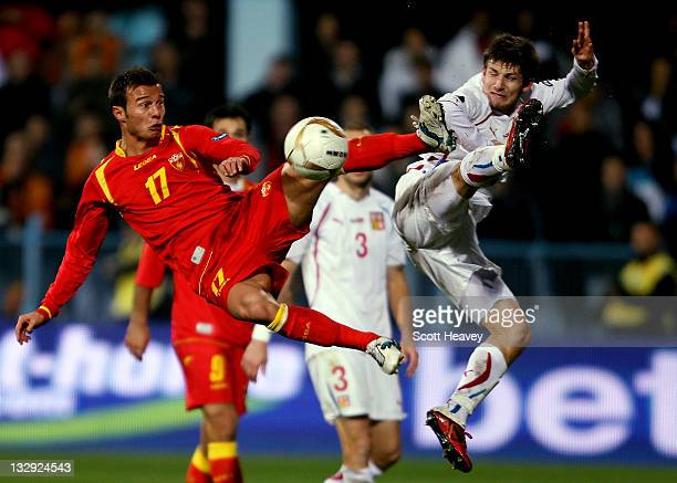 Vaclav Pilar of Czech Republic in action with Elsad Zverotic of Macedonia during the EURO 2012 Qualifier, Play Off Second Leg at the City Stadium on...