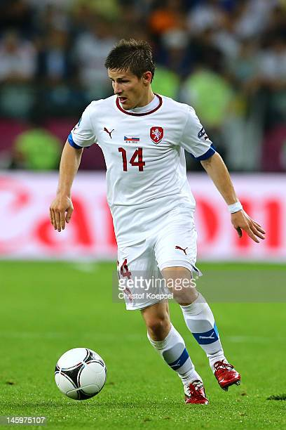 Vaclav Pilar of Czech Republic on the ball during the UEFA EURO 2012 group A match between Russia and Czech Republic at The Municipal Stadium on June...