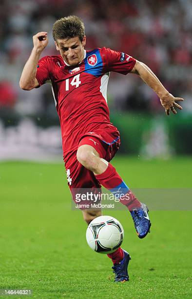 Vaclav Pilar of Czech Republic on the ball during the UEFA EURO 2012 group A match between Czech Republic and Poland at The Municipal Stadium on June...