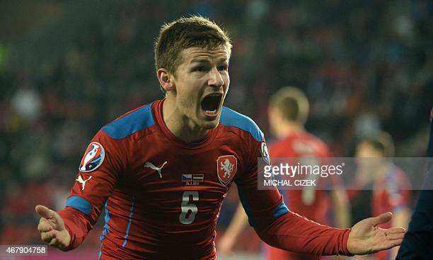Vaclav Pilar of Czech Republic reacts during the Group A Euro 2016 qualifying football match between Czech Republic and Latvia on March 28 2015 in...