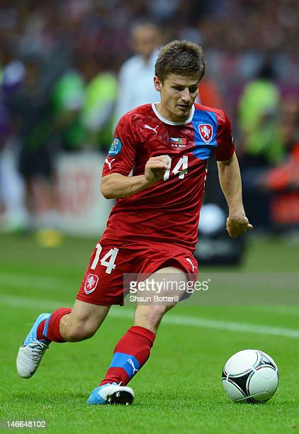 Vaclav Pilar of Czech Republic runs with the ball during the UEFA EURO 2012 quarter final match between Czech Republic and Portugal at The National...