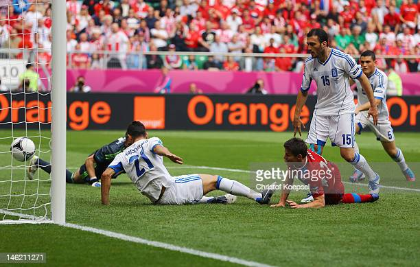 Vaclav Pilar of Czech Republic scores their second goal during the UEFA EURO 2012 group A match between Greece and Czech Republic at The Municipal...