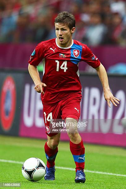Vaclav Pilar of Czech Republic with the ball during the UEFA EURO 2012 quarter final match between Czech Republic and Portugal at The National...