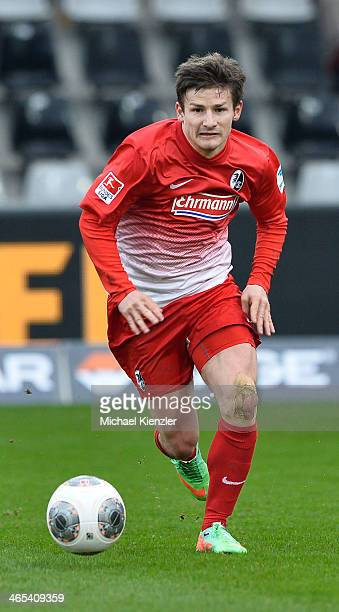 Vaclav Pilar of Freiburg runs with ball during the Bundesliga match between SC Freiburg and Bayer Leverkusen at Mage Solar Stadium on January 25 2014...