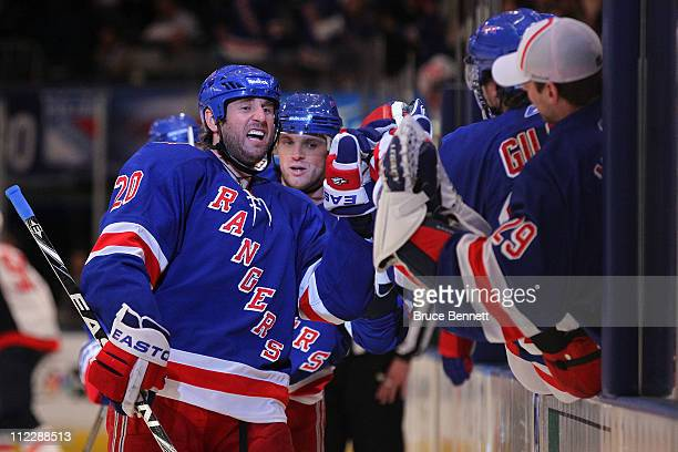 Vaclav Prospal of the New York Rangers celebrates with teammates after he scored a third period goal against the Washington Capitals in Game Three of...