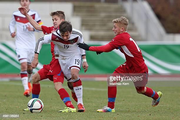 Vaclav Uzlik Andriko Smolinski and Martin Vybiral battle for the ball during the U16 international friendly match between Germany and Czech Republic...