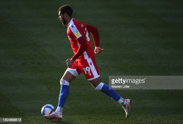 Vadaine Oliver of Gillingham FC runs with the ball during the Sky Bet League One match between Portsmouth and Gillingham at Fratton Park on February...