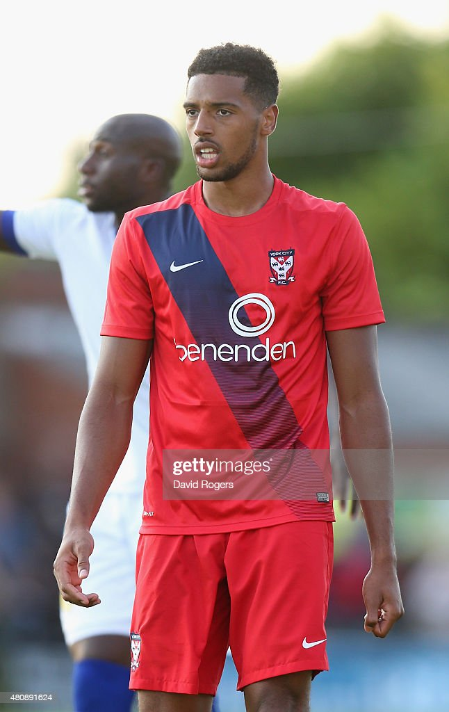 Vadaine Oliver of York City looks on during the pre season friendly match between York City and Leeds United at Bootham Crescent on July 15, 2015 in York, England.