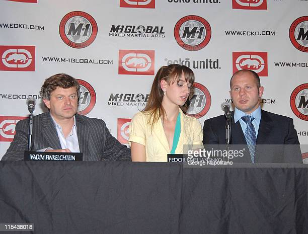 Vadim Finkelchtein and Fedor Emelianenko during a press conference at Marc Ecko Enterprises on October 22 2007 in New York City