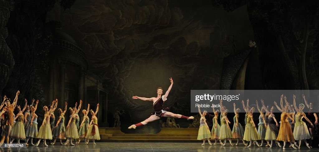 Vadim Muntagirov as Aminta with artists of the company in the Royal Ballet's production of Frederick Ashton's Sylvia at the Royal Opera House on November 21, 2017 in London, England.