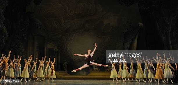 Vadim Muntagirov as Aminta with artists of the company in the Royal Ballet's production of Frederick Ashton's Sylvia at the Royal Opera House on...