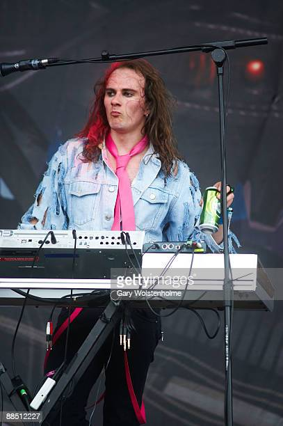 Vadim Pruzhanov of Dragonforce performs on stage on day 2 of Download Festival at Donington Park on June 13 2009 in Donington England