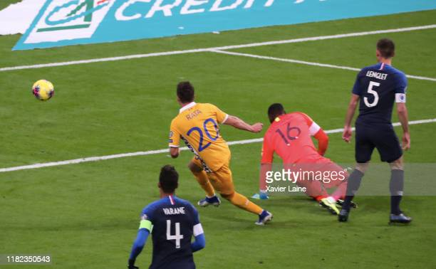Vadim Rata of Moldova scores a goal during the 2020 UEFA European Championships Group H qualifying match between France and Moldova at Stade de...
